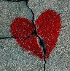 cracked heart picture in pavement