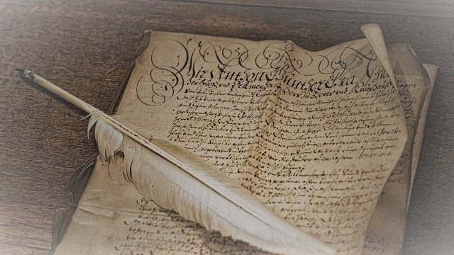 Plume and manuscript