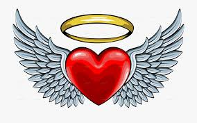 Wings around a heart with halo