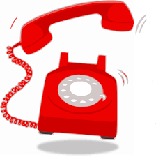 Red rotary phone, ringing hard