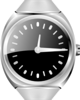 Silver wrist watch face