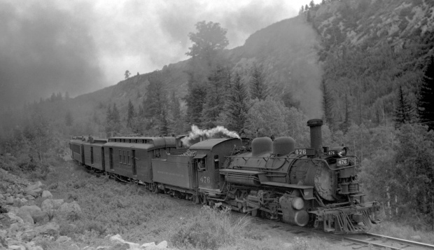Old railroad train, steaming