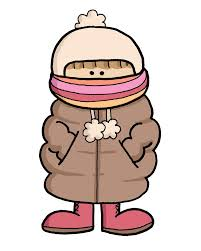 Cartoon female dressed for bitter cold