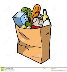 Paper grocery bag, full and tipping